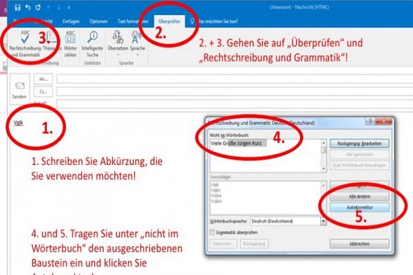 E-Mails schreiben mit Textbausteinen