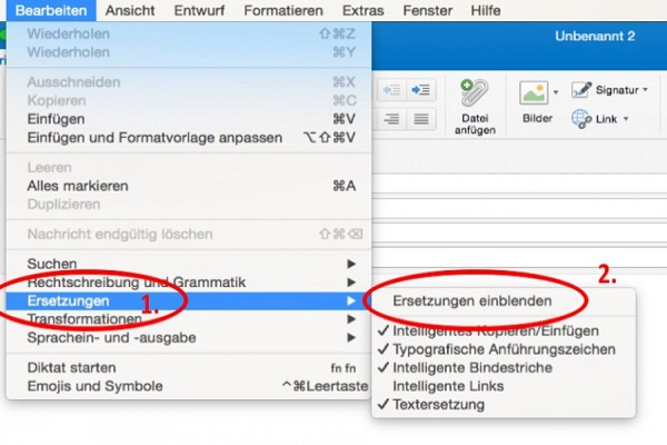 Ersetzungen statt Textbausteine für Mac