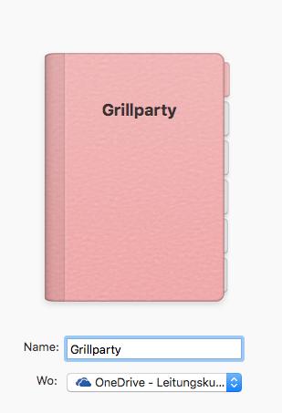 notizbuch mit grillparty benennen