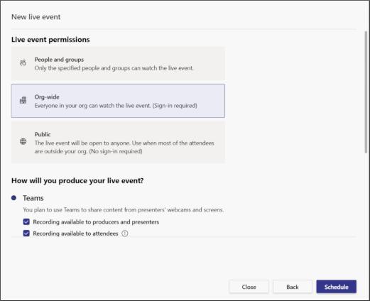 Wählen Sie aus, ob Ihr Live-Event für bestimmte Personen/Gruppen, Ihre Organisation oder öffentlich stattfinden soll (Quelle: Microsoft.com).