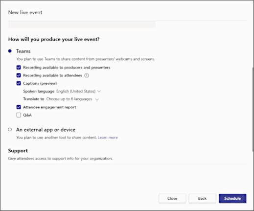 Bevor Sie die Planung Ihres Live-Events abschließen, können Sie die technischen Details planen (Quelle: Microsoft.com).