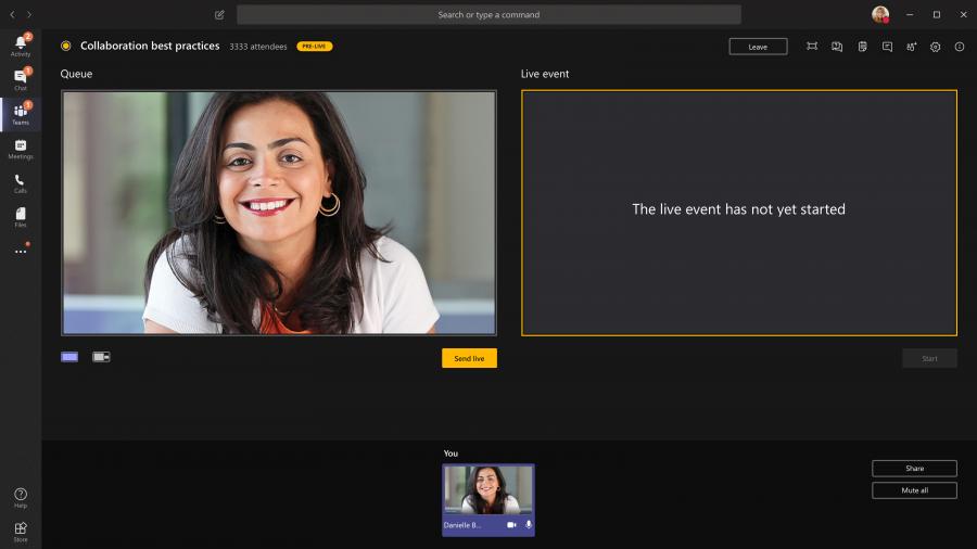 Auf der linken Bildschirmseite können Sie die Warteschlange Ihres Live-Ereignisses sehen, auf der rechten das gesendete Bild (Quelle: Microsoft.com).