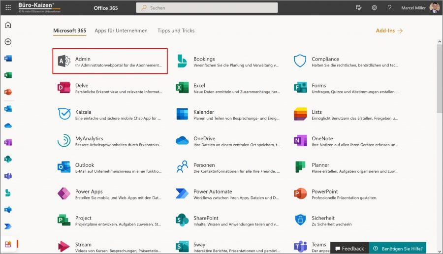 Bei Microsoft 365 gibt es eine Übersicht aller Apps. Das Administratorwebportal ist dabei nur für berechtigte Nutzer sichtbar.