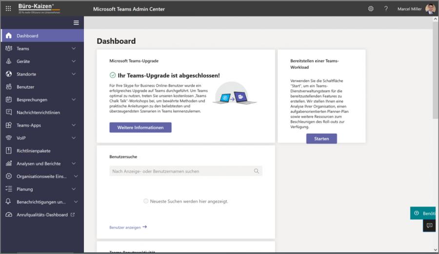 Die Administratoren können zusätzlich zum allgemeinen Admin Center auch auf den Microsoft Teams Admin Center zugreifen.