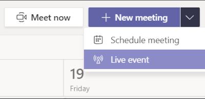 Sie können in der Kalenderansicht in Teams ein neues Live Event planen.