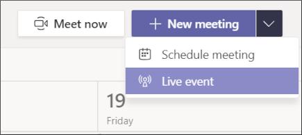 Sie können in der Kalenderansicht in Teams ein neues Live Event planen (Quelle: Microsoft.com).