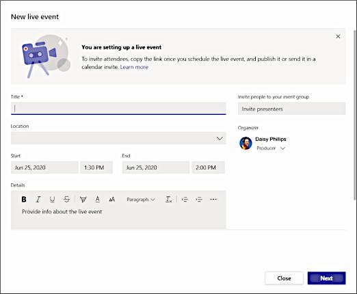 Um das Live Event richtig zu planen, sollten Sie alle wichtigen Daten zum Termin eintragen (Quelle: Microsoft.com).