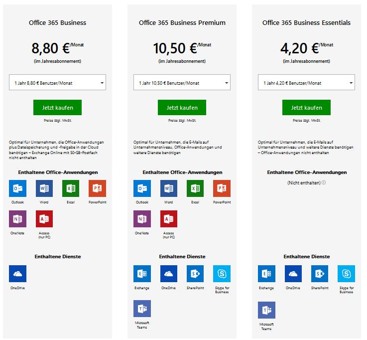 office365-verschiedene-versionen