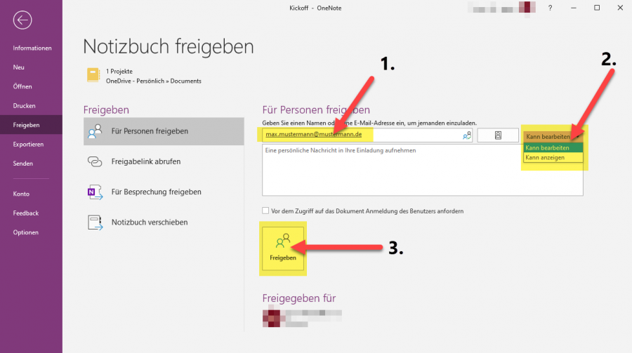 onenote-notizbuch-freigeben-empfaenger-eingeben-berechtigung-vergeben