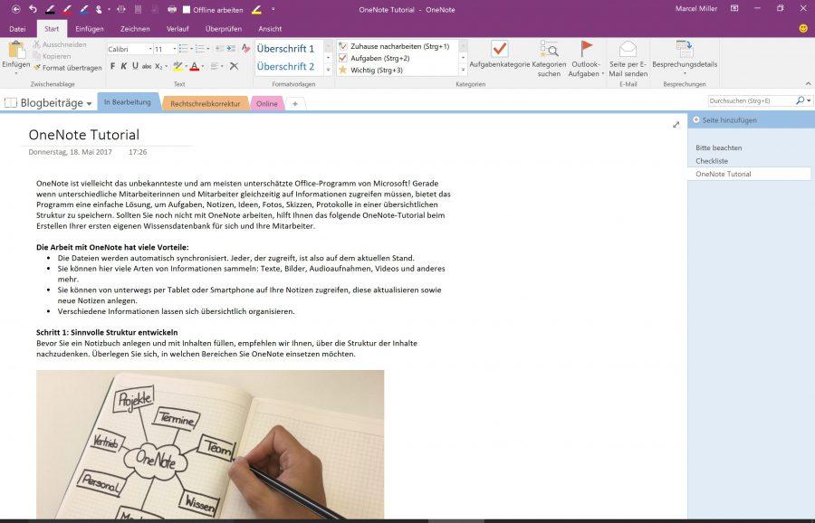 In OneNote lassen sich auch einfache Prozesse und Abläufe darstellen
