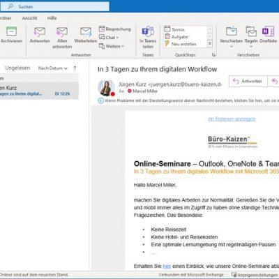 In Microsoft Outlook können übersichtlich die E-Mails, Termine, Aufgaben und Kontakte verwaltet werden.