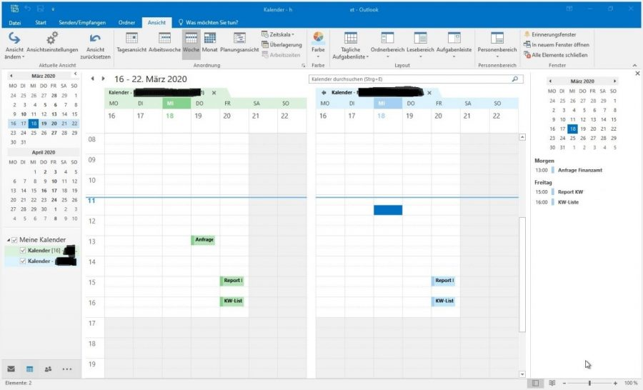 outlook-kalender-zusammenfuehren-standardansicht-zwei-kalender