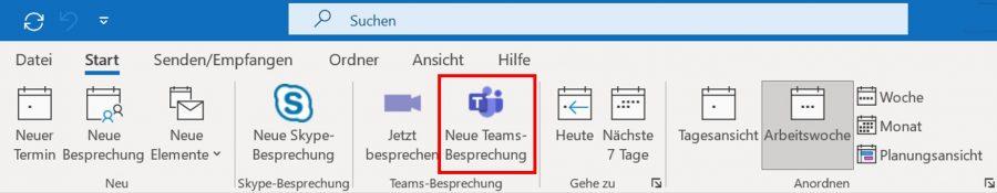Über den Schnellzugriff in Outlook können Sie direkt eine Teams-Besprechung planen.