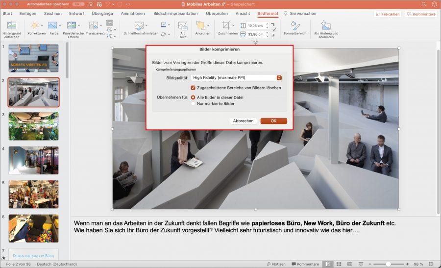 Damit Ihre PowerPoint Datei nicht unnötigen Speicherplatz auf dem MacBook füllt, können Sie die Bilder je nach Bedarf komprimieren und zugeschnittene Bildbereiche löschen.