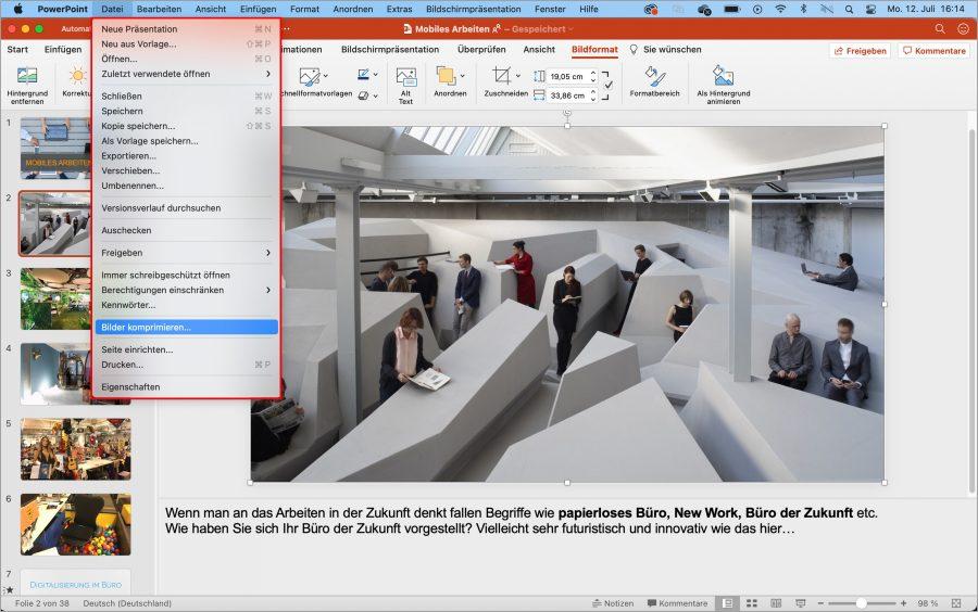 """Im Bereich """"Datei"""" Ihrer PowerPoint-Präsentation können Sie alle Bilder auf einmal komprimieren."""