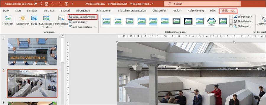 """Wenn Sie Bilder in einer PPT-Datei verkleinern möchten, können Sie auf """"Bilder komprimieren"""" gehen."""