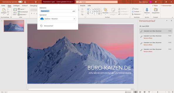 powerpoint-versionsverlauf