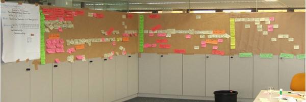 Prozesslandkarte mit Post Its visualisieren