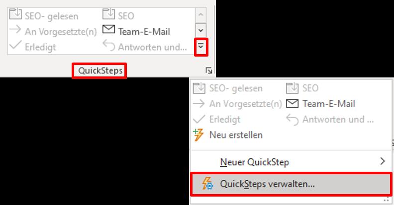 quicksteps-outlook-bearbeiten