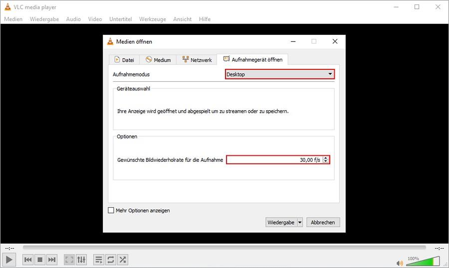 Stellen Sie Ihr Aufnahmegerät im VLC Media Player vor der Benutzung richtig ein.