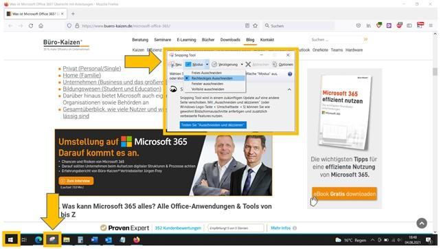 Das in Windows 10 integrierte Snipping Tool bietet viele verschiedene Möglichkeiten für das Anfertigen von Screenshots.