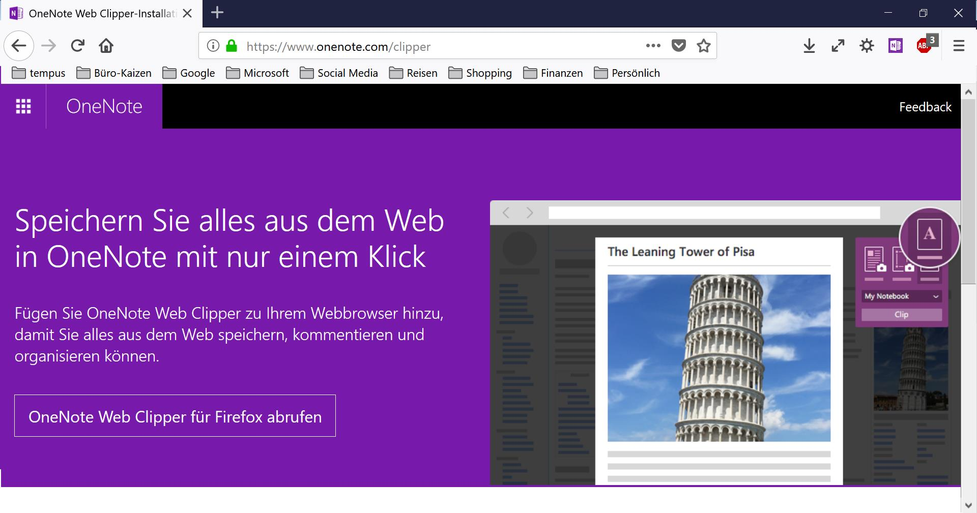 OneNote-Webclipper: Für eine extrem schnelle Dokumentation