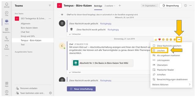 """Sie können jede eigene Chat-Nachricht in Teams löschen. Einfach auf die drei Punkte hinter dem Beitrag klicken und dann auf """"Löschen""""."""