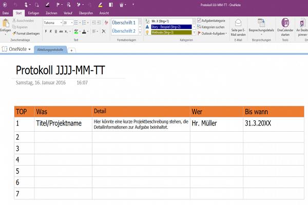 Vorlagen Jour Fixe Protokolle Onenote