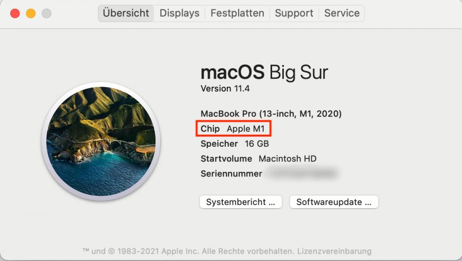 Prüfen Sie Ihr MacBook auf Apple M1, wenn Sie diesen an zwei Bildschirme anschließen möchten.